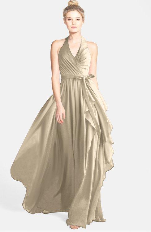 ColsBM Anya Champagne Glamorous A-line Sleeveless Zip up Chiffon Ribbon Bridesmaid Dresses