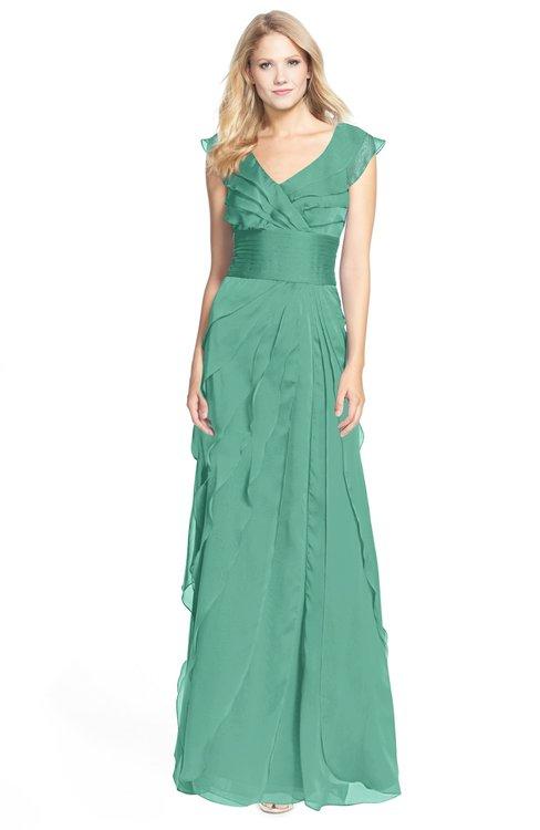 ColsBM Magnolia Beryl Green Gorgeous A-line V-neck Chiffon30 Floor Length Bridesmaid Dresses