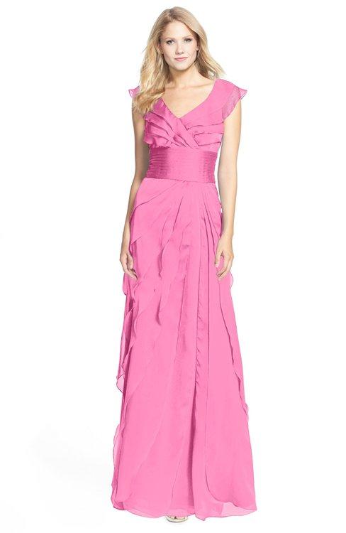 ColsBM Magnolia Carnation Pink Gorgeous A-line V-neck Chiffon30 Floor Length Bridesmaid Dresses