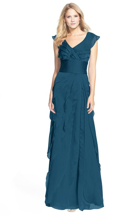 ColsBM Magnolia Moroccan Blue Gorgeous A-line V-neck Chiffon30 Floor Length Bridesmaid Dresses