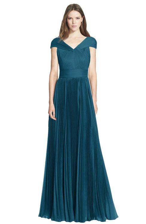 ColsBM Bryanna Moroccan Blue Classic Fit-n-Flare V-neck Short Sleeve Zip up Chiffon Bridesmaid Dresses