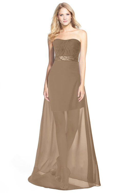 ColsBM Daleyza Bronze Brown Classic A-line Sweetheart Zip up Chiffon30 Floor Length Bridesmaid Dresses