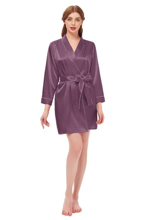 ColsBM D76615 Argyle Purple V-neck Cute Long Sleeve Short Robe with White Trim
