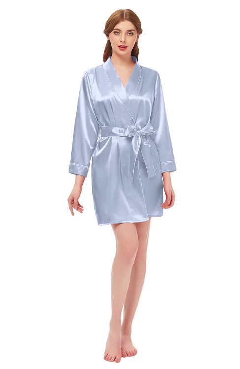 ColsBM D76615 Lavender V-neck Cute Long Sleeve Short Robe with White Trim