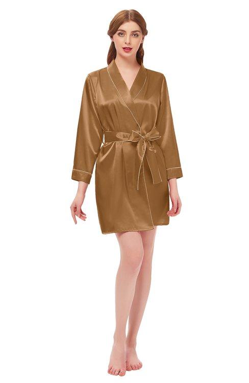 ColsBM D76615 Light Brown V-neck Cute Long Sleeve Short Robe with White Trim