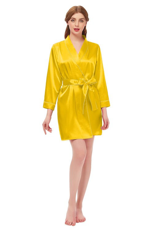 ColsBM D76615 Yellow V-neck Cute Long Sleeve Short Robe with White Trim