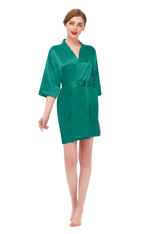 ColsBM D42079 Alpine Green V-neck Sash Three-fourths Length Sleeve Short Robe