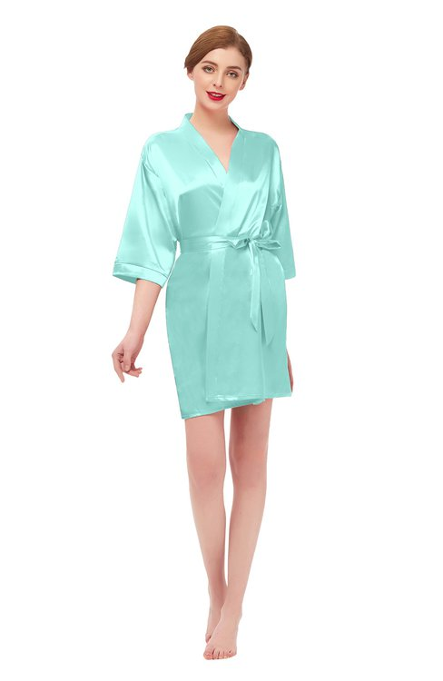 ColsBM D42079 Aqua Sky V-neck Sash Three-fourths Length Sleeve Short Robe