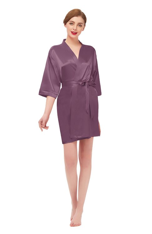 ColsBM D42079 Argyle Purple V-neck Sash Three-fourths Length Sleeve Short Robe