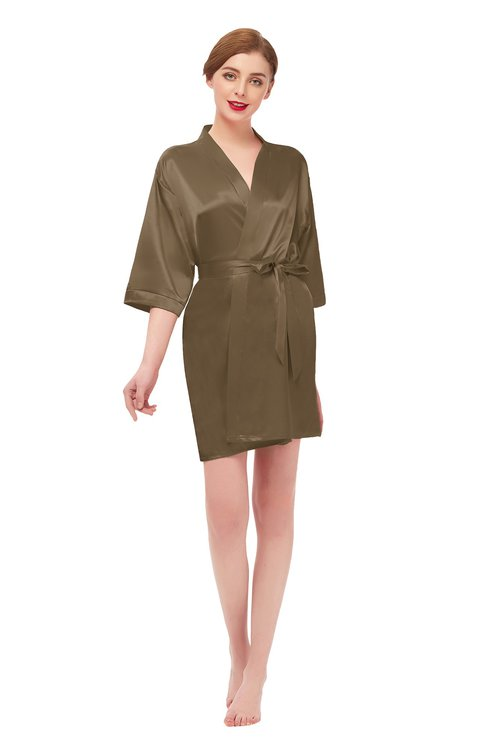 ColsBM D42079 Carafe Brown V-neck Sash Three-fourths Length Sleeve Short Robe