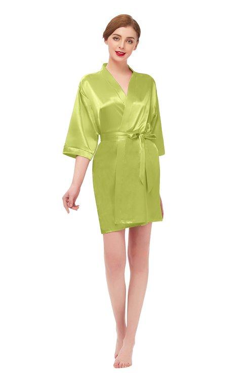 ColsBM D42079 Green Oasis V-neck Sash Three-fourths Length Sleeve Short Robe