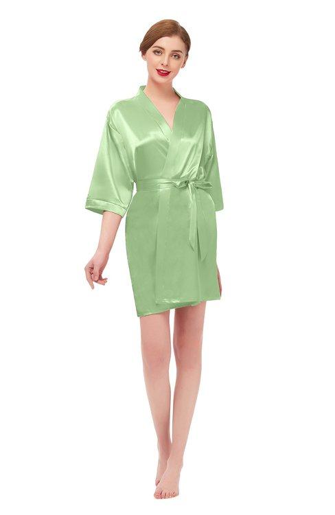 ColsBM D42079 Nile Green V-neck Sash Three-fourths Length Sleeve Short Robe
