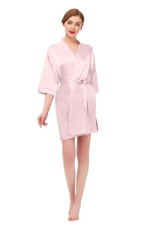 ColsBM D42079 Petal Pink V-neck Sash Three-fourths Length Sleeve Short Robe