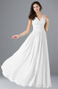 ColsBM Alana White Elegant V-neck Sleeveless Zip up Floor Length Ruching Bridesmaid Dresses