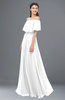 ColsBM Hana White Bridesmaid Dresses Romantic Short Sleeve Floor Length Pleated A-line Off The Shoulder