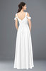 ColsBM Raven White Bridesmaid Dresses Split-Front Modern Short Sleeve Floor Length Thick Straps A-line