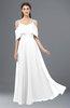 ColsBM Jamie White Bridesmaid Dresses Floor Length Pleated V-neck Half Backless A-line Modern