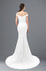 ColsBM Reese White Bridesmaid Dresses Zip up Mermaid Sexy Off The Shoulder Lace Chapel Train