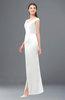 ColsBM Maryam White Bridesmaid Dresses Mature Sheath Off The Shoulder Floor Length Half Backless Split-Front