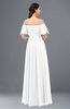 ColsBM Ingrid White Bridesmaid Dresses Half Backless Glamorous A-line Strapless Short Sleeve Pleated