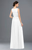 ColsBM Skyler White Bridesmaid Dresses Sheer A-line Sleeveless Classic Ruching Zipper