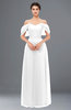 ColsBM Haven White Bridesmaid Dresses Zip up Off The Shoulder Sexy Floor Length Short Sleeve A-line