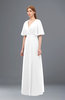 ColsBM Dusty White Bridesmaid Dresses Pleated Glamorous Zip up Short Sleeve Floor Length A-line