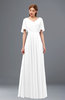 ColsBM Storm White Bridesmaid Dresses Lace up V-neck Short Sleeve Floor Length A-line Glamorous