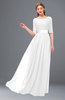 ColsBM Payton White Bridesmaid Dresses Sash A-line Modest Bateau Half Length Sleeve Zip up