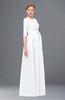ColsBM Aisha White Bridesmaid Dresses Sash A-line Floor Length Mature Sabrina Zipper