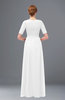 ColsBM Ansley White Bridesmaid Dresses Modest Lace Jewel A-line Elbow Length Sleeve Zip up