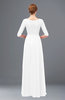 ColsBM Neriah White Bridesmaid Dresses Lace Antique Zipper Boat Floor Length Half Length Sleeve