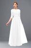 ColsBM Billie White Bridesmaid Dresses Scalloped Edge Ruching Zip up Half Length Sleeve Mature A-line