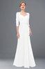 ColsBM Bronte White Bridesmaid Dresses Elbow Length Sleeve Pleated Mermaid Zipper Floor Length Glamorous