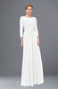 ColsBM Dixie White Bridesmaid Dresses Lace Zip up Mature Floor Length Bateau Three-fourths Length Sleeve