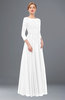 ColsBM Dixie White Bridesmaid Dresses Lace Zip up Mature Floor Length Bateau Three-fourths Length Sleeve
