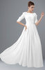 ColsBM Rene White Bridesmaid Dresses Boat Flower A-line Elastic Elbow Length Sleeve Hawaiian