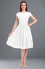 ColsBM Bella White Modest A-line Short Sleeve Zip up Flower Bridesmaid Dresses
