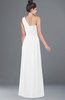 ColsBM Adalyn White Mature Sheath Sleeveless Half Backless Chiffon Ruching Bridesmaid Dresses
