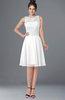ColsBM Helen White Glamorous A-line Scoop Zip up Chiffon Sash Bridesmaid Dresses