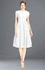 ColsBM Jane White Mature Fit-n-Flare High Neck Zip up Chiffon Bridesmaid Dresses