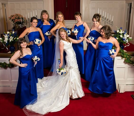 Bright Royal Blue And Metallic Silver Winter Wedding Color Ideas
