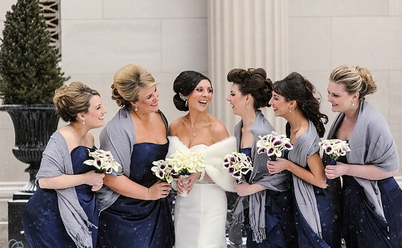 373da5fb933f7 White Bride Gown and Bridesmaid dresses for Navy blue and Grey Winter  wedding