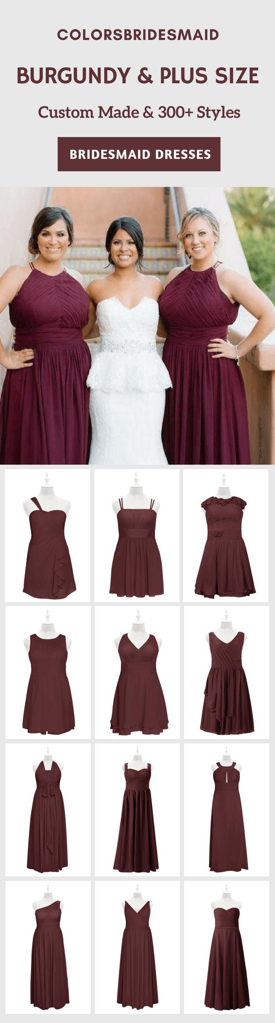 12 Flattering Burgundy Plus Size Bridesmaid Dresses Short ...