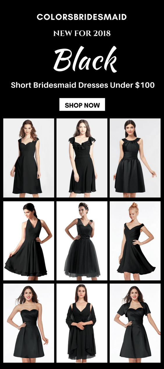 short black bridesmaid dresses under 100