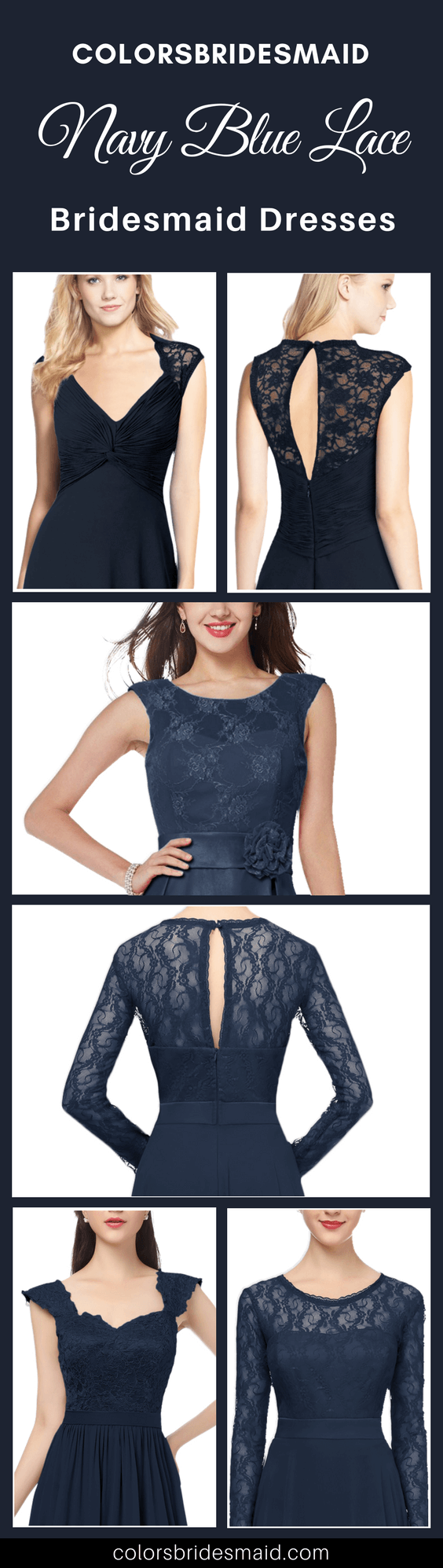 4 Unique Navy Blue Lace Bridesmaid Dresses In 2018 New Styles Colorsbridesmaid