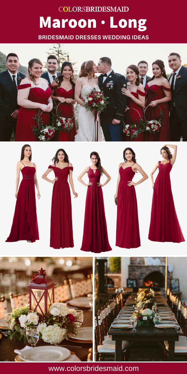 maroon bridesmaid dresses long