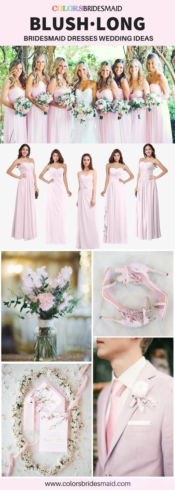 blush pink bridesmaid dresses long
