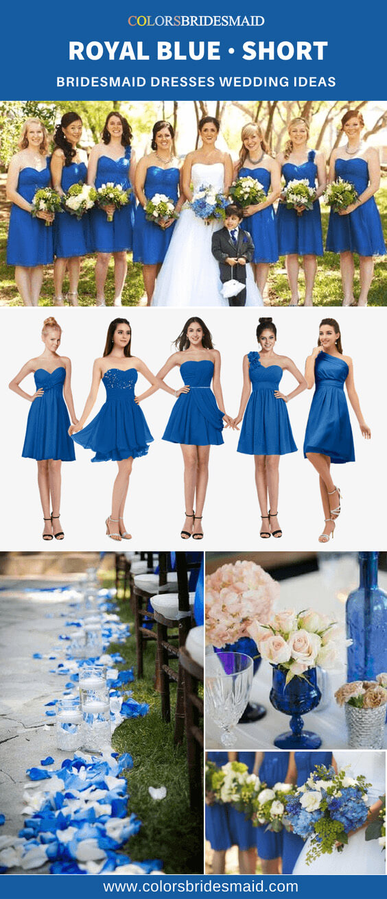 short royal blue bridesmaid dresses