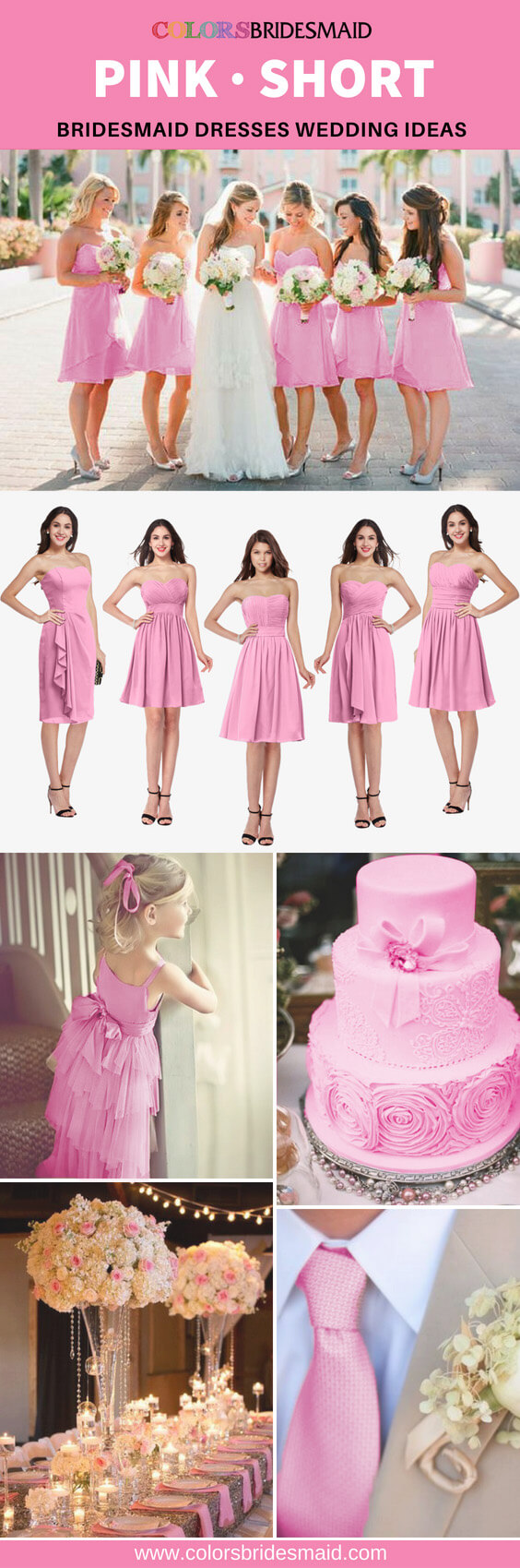 pink bridesmaid dresses short
